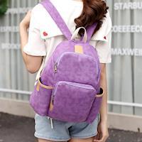 【Acorn*橡果】韓版休閒多功能帆布後背包6552(紫色)