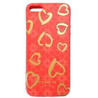 COACH 愛心塗鴉 iPhone 5 手機保護殼(紅x黃)
