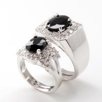 【寶石方塊】幸福美滿天然3克拉+2克拉黑藍寶對戒-活圍設計