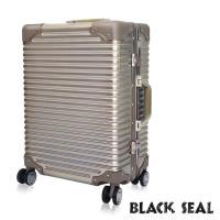 BLACK SEAL  專利霧面横條紋系列 20吋防刮耐撞鋁框旅行箱/行李箱  -沙灘金