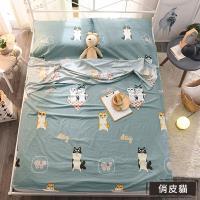 【媽媽咪呀】俏皮貓100%純棉旅行保潔墊/隔髒睡袋_雙人加大(絕非化纖或韓棉布料)