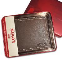 【Levis】Levis 牛皮夾 拉鍊零錢袋 經典鐵盒裝/咖色