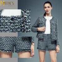 MONS名媛風時尚縫珠羊毛厚短褲