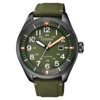 CITIZEN 星辰 Eco-Drive 光動能飛行員手錶 綠 43mm AW5005-21Y