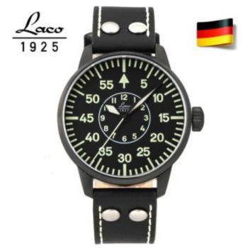 【Laco】朗坤 861760 德國空軍夜光防水皮帶 Bielefeld軍事風格機械錶黑鋼 42mm 台灣總代理公司貨