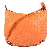 BOTTEGA VENETA 465917 經典編織羊皮長揹帶肩背包.橙