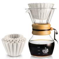 Kalita 蛋糕形濾紙50張+達人咖啡 NO.9 玻璃濾杯咖啡壺組(1-4人份)