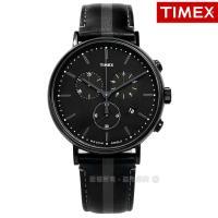 TIMEX 天美時 / TXTW2R37800 / 美國INDIGLO專利照明三眼計時紳士真皮手錶 黑色 41mm