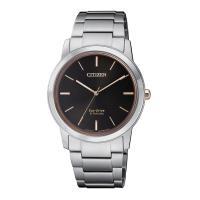 【CITIZEN 星辰】PAIR對錶系列Eco-Drive 簡約紳士品味光動能鈦金屬腕錶-黑X玫瑰金/34mm(FE7024-84E)