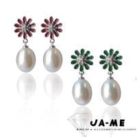 JA-ME完美皮光9-10mm天然珍珠小花朵耳環