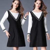 麗質達人中大碼 - IS7445加絨保暖假二件洋裝 XL-5XL