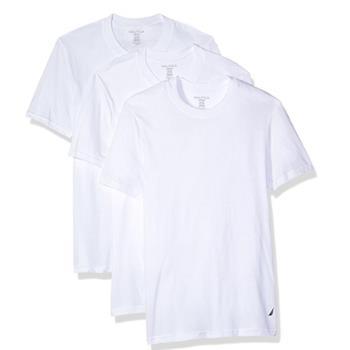 NAUTICA 男時尚白色圓領短袖內衣3件組(預購)