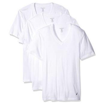 NAUTICA 男時尚白色V領短袖內衣3件組(預購)