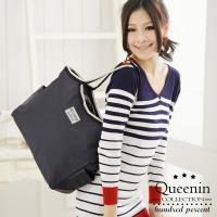 任-DF Queenin - 都會簡約防潑水肩背購物袋-共5色
