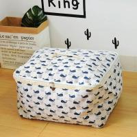 收納職人 衣物棉被大容量防水防塵袋收納袋收納箱50L 白底小藍鯨