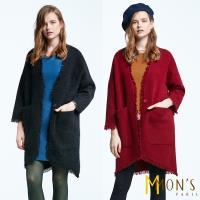 MONS英式經典造型狐狸絨長版外套/大衣