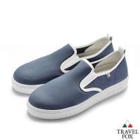 TRAVEL FOX(女)網布舒適休閒懶人鞋-藍