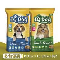 IQ Dog 聰明乾狗糧 雞肉15kg*1+羊肉13.5kg*1 狗飼料 (共2包)