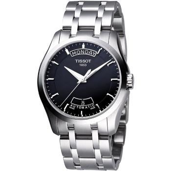 TISSOT Couturier 建構師系列大三針機械鍊帶腕錶 黑 39mm T0354071105100