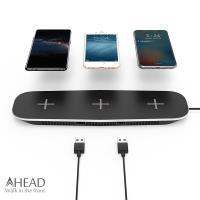 AHEAD領導者 QI無線充電板/3充+USB充電/2埠 同時3支手機無線充電器