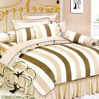 采棉居寢飾文化館 純棉條紋雙人六件式床罩組