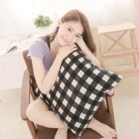【奶油獅】格紋系列-台灣製造-100%精梳純棉可拆洗方型抱枕(含枕心)50CM(黑)
