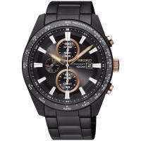 SEIKO 精工Criteria 太陽能三眼計時腕錶(黑x玫瑰金/43mm) V176-0AX0X SSC661P1