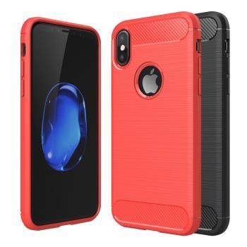 YANGYI 揚邑-Apple iPhone X /XS 碳纖維拉絲紋軟殼散熱防震抗摔手機殼