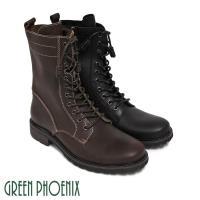 GREEN PHOENIX 率性簡約線條感綁帶側拉鍊全真皮短筒男靴(男鞋)T9-10075