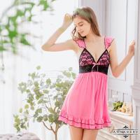 大尺碼Annabery甜蜜桃粉洋裝式柔緞性感睡衣