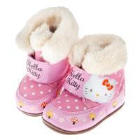 《布布童鞋》HelloKitty凱蒂貓童趣點點舖毛寶寶靴(13~18公分) [ C7Z485G ]  粉紅色款