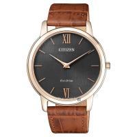 CITIZEN 星辰 Eco-Drive 光動能薄型手錶 灰x玫瑰金框 39mm AR1133-15H