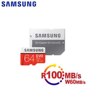 Samsung三星 microSDXC 64GB R100/W60MB UHS-I U3 EVO+高速記憶卡-含轉卡