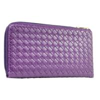 【Miyo】經典壓編織紋拉鍊護照夾(紫)