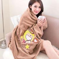 【奶油獅】台灣製造 加厚長毛雙面珊瑚絨保暖毯(星星牛仔款)-咖啡