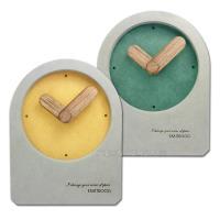 簡約時尚現代居家清水模日式北歐風格 餐廳客廳臥室床頭桌上型靜音座鐘 時鐘 - 黃/綠
