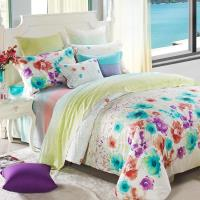 【Betrise花語繽紛】特大-100%天絲TENCEL四件式鋪棉兩用被床包組