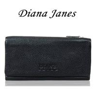 【Diana Janes 黛安娜】牛皮三折多層長夾-黑