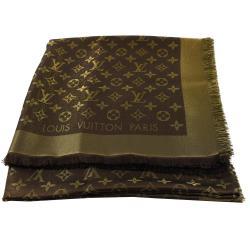 LV M75122 Monogram Shine 經典花紋羊毛絲綢披肩圍巾.金棕 現貨