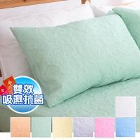eyah宜雅 吸濕排汗大和防蹣抗菌雙效-信封枕套式枕頭保潔墊-2入(多色可選)