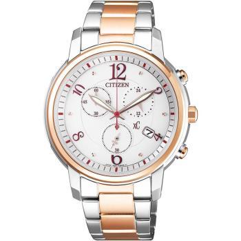 CITIZEN 星辰xC 俏麗佳人 光動能三眼計時腕錶(白x玫瑰金/38mm) FB1435-57A