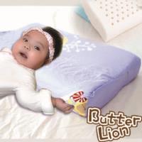 【奶油獅】馬來西亞進口純天然乳膠嬰兒仰睡側睡專用工學枕(附100%純棉布)-幻紫