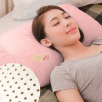 【奶油獅】馬來西亞進口純天然蝶型乳膠枕-附精梳純棉布(兒童、女性適用)粉紅