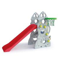 寶貝樂精選 台灣製造火箭造型溜滑梯附小籃球框ST安全玩具
