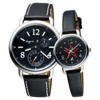 agnes b. Journey 新世界航海情人對錶-黑/40+26mm VD73-KV10D+VJ22-KR80D