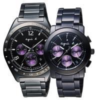 agnes b. 宇宙星馳視距儀計時對錶-IP黑x紫/38mm 7T12-0AP0T+VD53-KP30P(BW8004P1+BT3032X1)