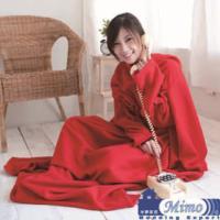 米夢家居~紅喜迎春100%台灣製造~輕柔懶人袖毯2入(懶人毯、毛毯高雄現貨)