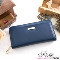 任-DF Flor Eden皮夾 - 都會女性牛皮款十字紋單拉鍊長夾-藍色