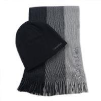 CK黑灰針織圍巾+毛帽二件式組合