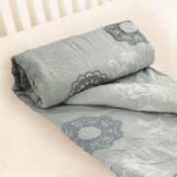 【米夢家居】台灣製造-巴洛克100%精梳純棉兩用鋪棉被套/四季被(灰)-單人